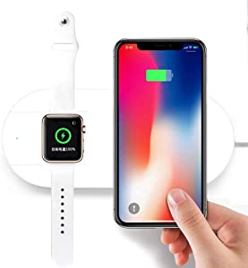 Qi Wireless Charger for iPhone and Apple Watch Fast Wireless Charging Pad for iPhone Xs Max/XS/XR/X/8/8 Plus, Samsung, iwatch Replacement Qi-Enabled Magnetic 2 in 1 Wireless Charger Stand