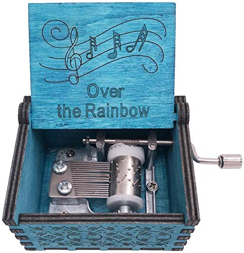 SIQI Over The Rainbow Music Box Hand Crank Music Box Carved Wood Musical Gifts, Plays Over The Rainbow, Blue