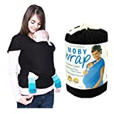 NFT Baby Slings Carrier - 4-in-1 Baby Wrap Carrier Natural Premium Cotton| Compact and Comfortable Baby Wraps | Pure Cotton/Spandex | Postpartum Belt | Nursing Cover | Suitable for Newborn Infants from Birth. (Black)