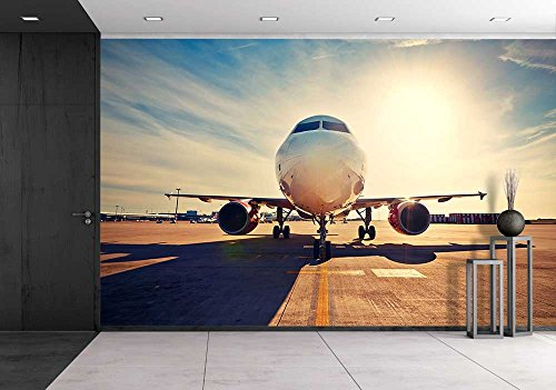 wall26 - Airplane is Taxiing to Take off at the Sunrise - Removable Wall Mural | Self-adhesive Large Wallpaper - 100x144 - Sunrise Airport