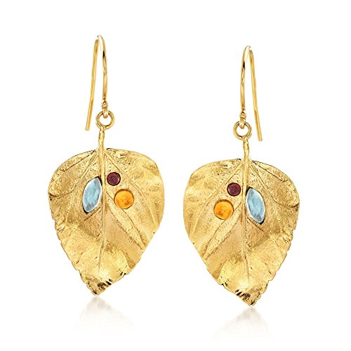 Ross-Simons 1.40 ct. t.w. Multi-Stone Leaf Drop Earrings in 18kt Yellow Gold Over Sterling