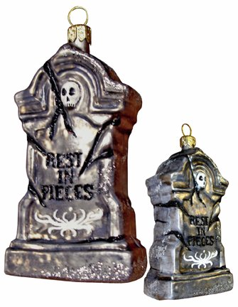 Slavic Treasures HAL084003 Rest In Pieces Tombstone Halloween Ornament