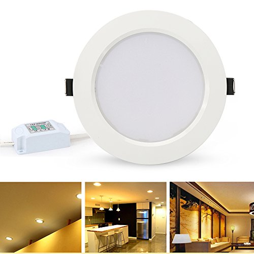 LVJING Dimmable LED Downlight, Retrofit LED Recessed Lighting Fixture Kit, 12W Ceiling Panel Light (85W Equivalent), 4 Inch Open Hole Size, 3000K, Warm White Glow, Energy Saving Ultra Thin and Bright - Voltage Open Trim