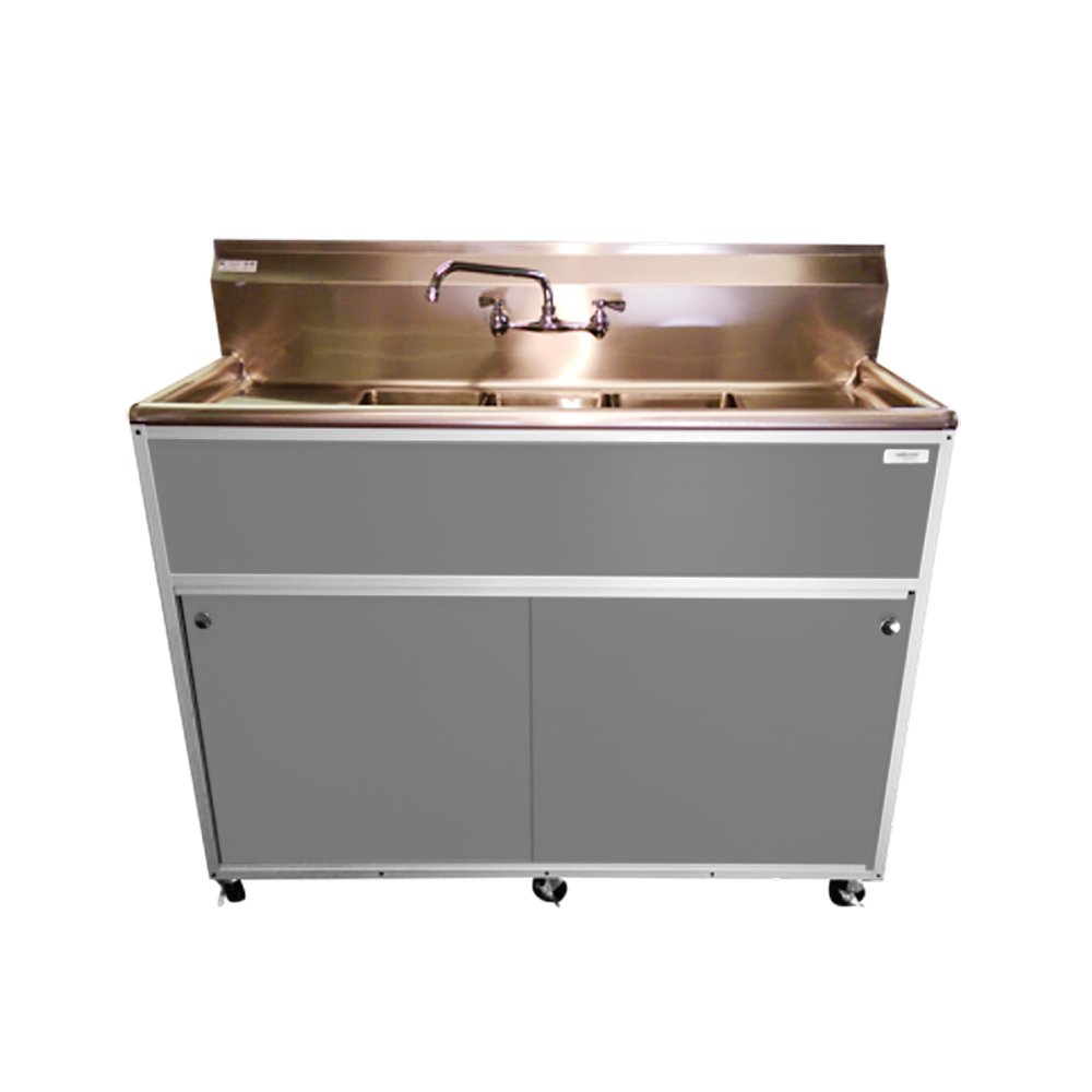 Monsam PSE-2003SD Commercial Three Bowl Sink, Grey