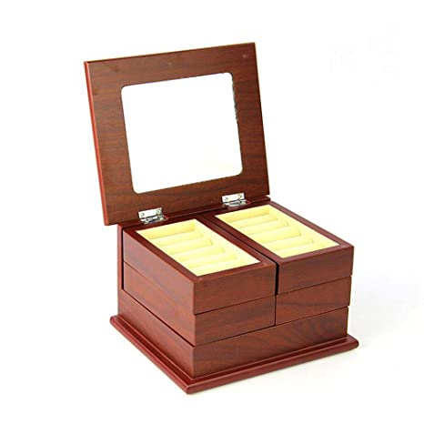 Hongge Caja Joyero,Joyería de Almacenamiento Caja Plegable Madera Joyas Antiguas de múltiples Funciones Creativas
