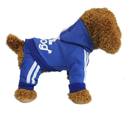 YAAGLE Pet Warm Sweater Hoodie Coat Sweatshirt Clothes Costume Apparel for Dog Puppy Cat,Blue (Doctor Dog Costume)
