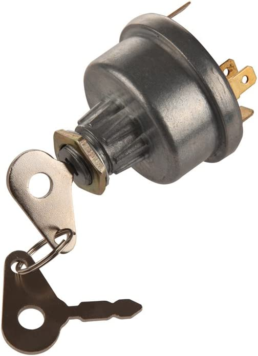 Midiya 3107556R92, K203992 Ignition Start Switch With 3 Position 6 Terminal 2 Keys For Skytrack Mitsubishi Ford Chevy Lucas David Brown Backhoe Loader GardenTractor Trailer Agriculture Replacement