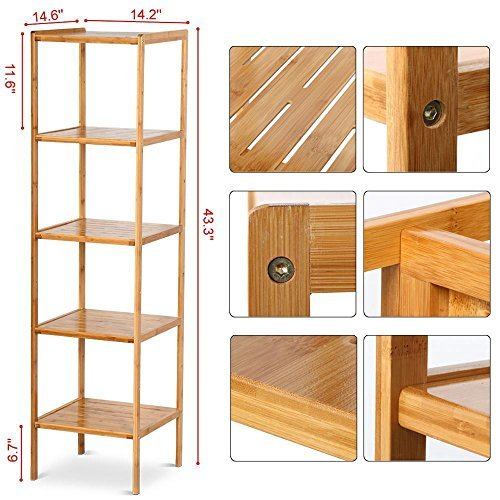 Topeakmart 5 tier bathroom bamboo wood tower shelf kitchen for Wooden bathroom shelving unit