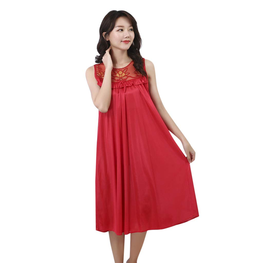 Psunrise Pijamas Women's Loose Comfy Sleeveless Pure Pleated Nightdress Lingerie Sleepwear Vest Pajamas(Free Size, Red)