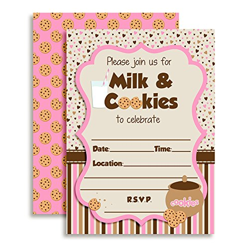 - Amanda Creation Milk and Cookies Girl Birthday Party Fill in Invitations Set of 20 with envelopes