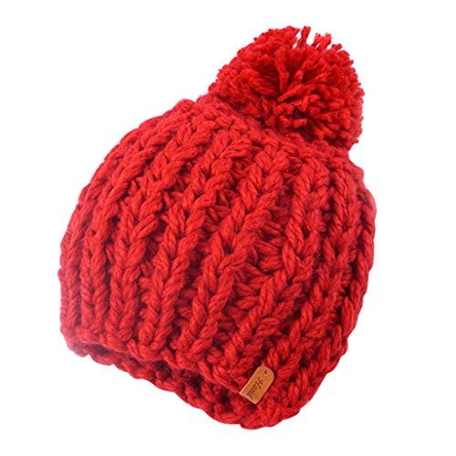 Thicken Chunky Knit Hat with Pom Pom,Crytech Women Winter Warm Fleece Lined Solid Color Wool Crochet Knitted Cable Beanie Cap Outdoor Stretch Knitting Skull Snow Ski Hat for Girls (Red)