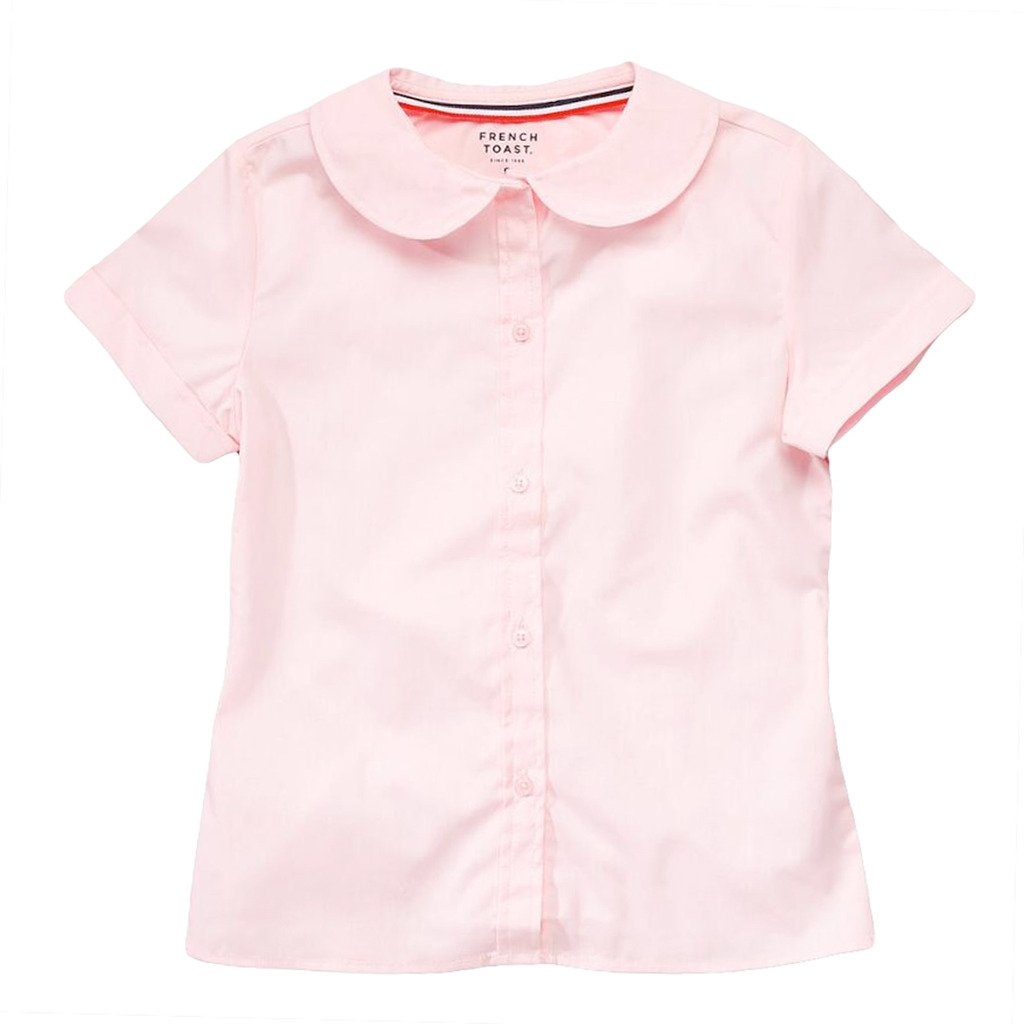 French Toast Girls Short Sleeve Peter Pan Blouse Size 06 Pink E9320