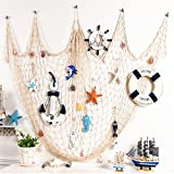 Yunpo Fish Net Wall Decor Decorative Nautical Fishing Net With Sea Shells For Party Living Room Kids' Bedroom Home Decor Vintage Decorations