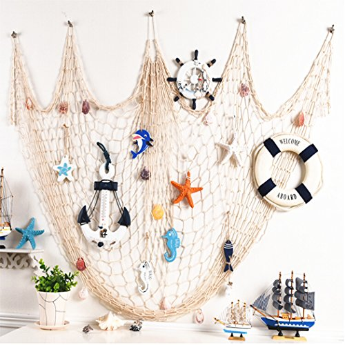 Yunpo Fish Net Wall Decor Decorative Nautical Fishing Net With Sea Shells For Party Living Room Kids' Bedroom Home Decor Vintage Decorations by Yunpo