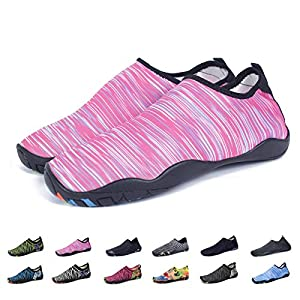 KEALUX Men Women Barefoot Quick-Dry Water Sports Shoes Multifunctional Sneakers with Drainage Holes for Swim,Walking,Yoga,Lake,Beach,Garden,Park,Driving,Boating-41(A.Pink)