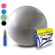 Exercise Ball - Professional Grade Anti-Burst Yoga Fitness, Balance Ball for Pilates, Yoga, Stability Training and Physical Therapy (Silver, 75cm)