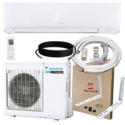 DAIKIN 24,000 BTU 17 SEER Wall-Mounted Ductless Mini-Split A/C Heat Pump System Maxwell 15-ft Installation Kit & Wall Bracket (230V) 10 Year Limited Warranty (24,000 BTU_208-230V) (Mini Split Ductless Heat Pump)