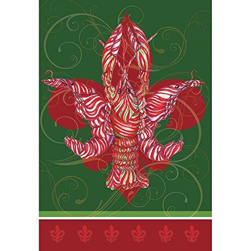 Magnolia Garden Peppermint Crawfish and Filigree Fleur de Lis 44 x 30 Rectangular Screenprint Large House Flag