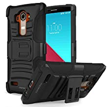 LG G4 Case, MoKo Shock Absorbing Hard Cover Ultra Protective Heavy Duty Case with Holster Belt Clip + Built-in Kickstand for LG G4 5.5 Inch (2015) - Black (NOT FIT LG G3)