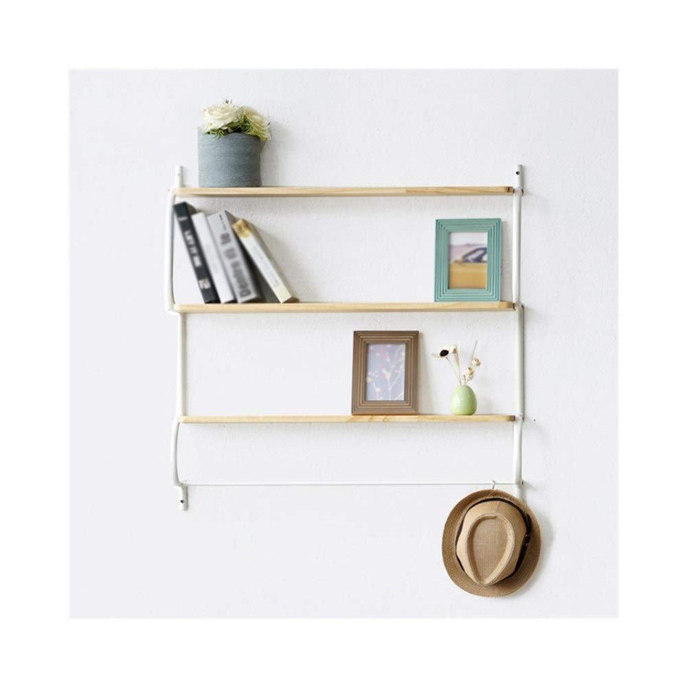 Primary color Multi-Function Cabinet Solid Wood partition Wall Hanging Bookshelf, Wrought Iron Wall Decoration Frame Multi-Functional Storage Wall Shelf (color   Primary color)