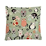 MAYUAN520 Cushion、Decorative Pillows 4545cm Cushion Cover Cute Cats Animals Pattern Decorative Pillows Cases For Bedroom Living Room Sofa Bed Decoration