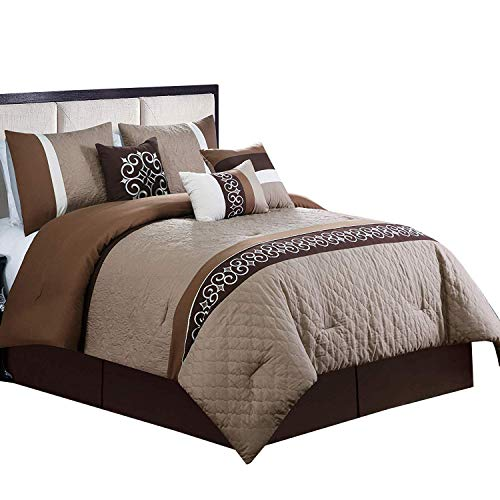 sheetsnthings Ruhi Queen Size Comforter Set (Coffee, Beige, Brown) 7 Pieces All Seasons Luxury Bedding Sets Includes: Comforter, Throw Pillows, Pillow Shams, Bed Skirt
