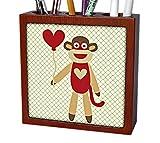 3dRose ph_63510_1 Sock Monkey with Heart Balloon Adorable Animal Art Tile Pen Holder, 5''
