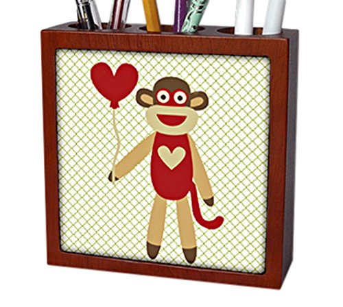 3dRose ph_63510_1 Sock Monkey with Heart Balloon Adorable Animal Art Tile Pen Holder, 5''