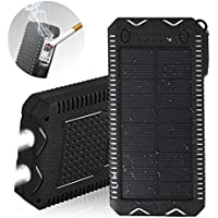 Solar Phone Charger,15000mAh Dual USB Port External Battery Charger Built-in 2 LED Flashlight Waterproof/Shockproof/Dustproof Phone Charger for Emergency Outdoor Camping Travel Black and White