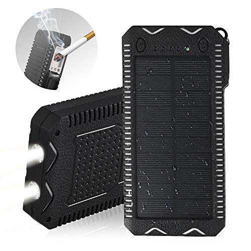 [Upgraded] Solar Charger,15000mAh Solar Battery Charger,Portable Solar Power Bank Waterproof/Dustproof/Shockproof Dual USB Port,Phone Charger for Emergency Outdoor Camping Travel (Black and White)