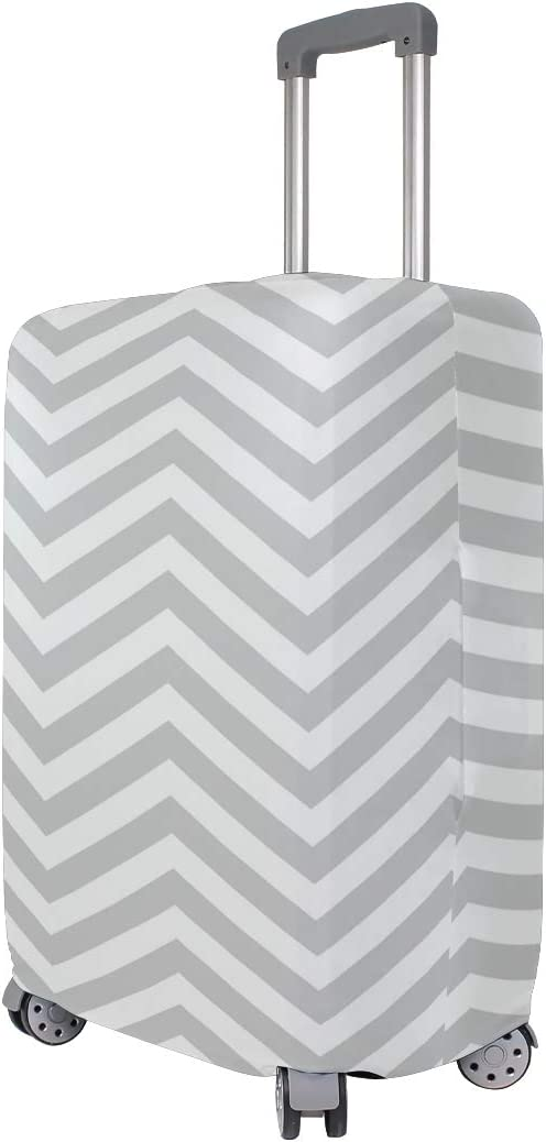 Cute 3D Grey Ang White Chevron Zigzag Pattern Luggage Protector Travel Luggage Cover Trolley Case Protective Cover Fits 18-32 Inch