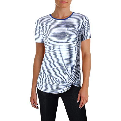 (LAUREN RALPH LAUREN Womens Linen Striped T-Shirt White XL)