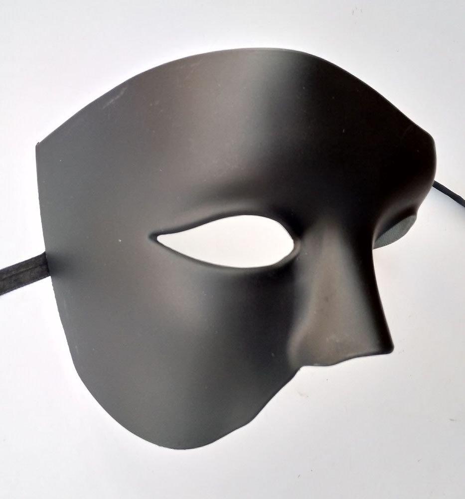 Argento nero Masquerade Mask Vintage Phantom Of The Opera Costume da uomo con visiera a mezza faccia