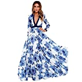 Pengy Women Summer Boho Style Long Sleeve V Neck Floral Printed Pleated Chiffon Long Dress Beach Dress (Blue, S)