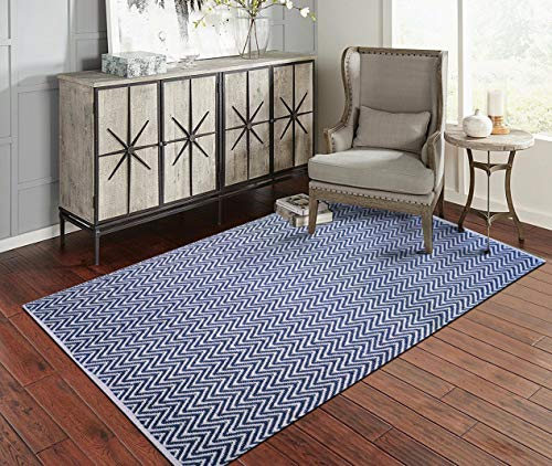 Fernish Décor 100% Contemporary Cotton Chevron Area Rug Fully Reversible, Zig-Zag Rug, Size-3' X 5', Machine Washable, Navy/White, Unique for Bedroom, Living Room, Kitchen, Nursery and More (Rug Chevron Area Navy)