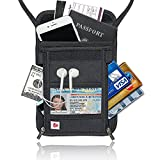 AIKELIDA RFID Blocking Passport Holder Neck Stash Pouch Security Travel Wallet - Black