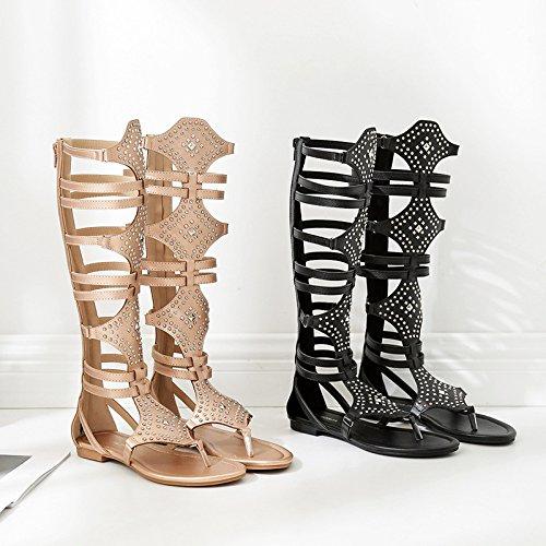 RUGAI-UE Roma mujer sandalias planas sandalias de damas Golden