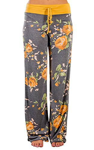 (Elsofer Women's Pajama Lounge Pants Floral Print Comfy Casual Stretch Palazzo Drawstring Pj Bottoms Pants Wide Leg (Tag S (US 4), Yellow))