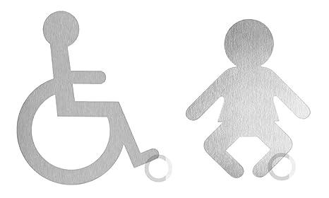 Ofform - Edelstahl Piktogramme Letrero de Pictograma de Acero Inoxidable para Silla de Ruedas, Juego