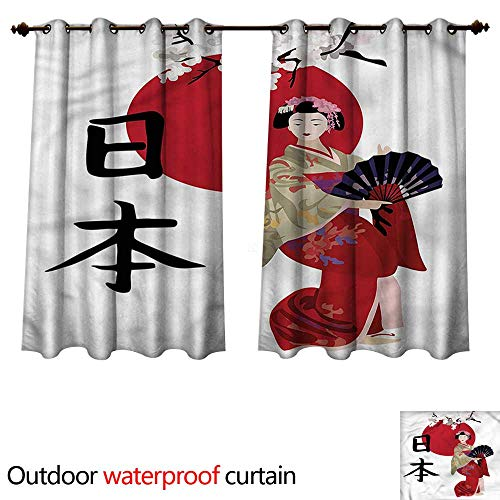 - cobeDecor Japan Outdoor Curtain for Patio Geisha Cherry Blossoms Kanji W63 x L63(160cm x 160cm)