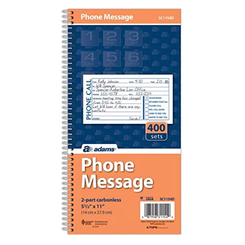 Nice Adams Phone Message Book, Carbonless Duplicate, 5.50 x 11 Inches, 4 Sets per Page, 400 Sets per Book (SC1154D)