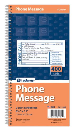 Adams Phone Message Book, Carbonless Duplicate, 5.50 x 11 Inches, 4 Sets per Page, 400 Sets per Book (SC1154D) (Adams Message Book)