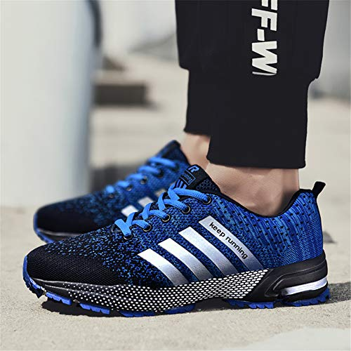 Pictures of KUBUA Mens Running Shoes Trail Fashion Sneakers Tennis Sports Casual Walking Athletic Fitness Indoor and Outdoor Shoes for Men EU 45/11 D(M) US F Blue 3