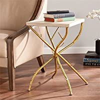 Pemberly Row Branch Accent Table in Gold and White