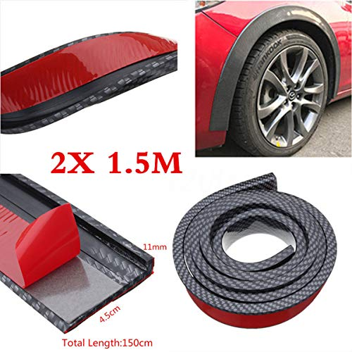 FidgetFidget Carbon Fiber Widening Car Fender Flare Wheel Eyebrow Trim Protector Lip 2 X 1.5m