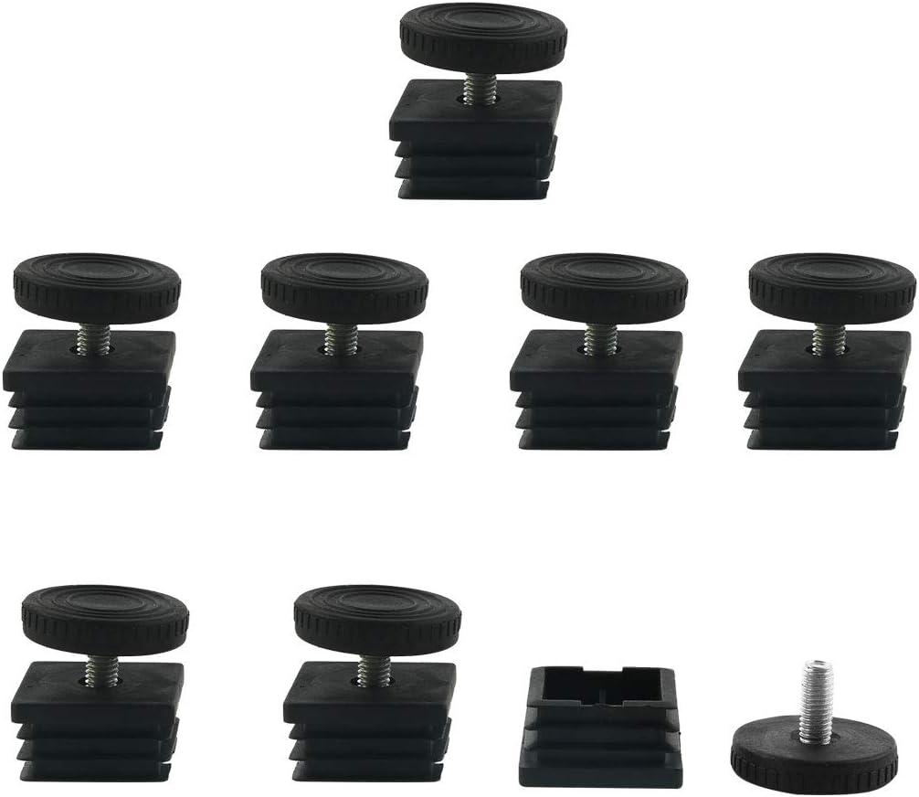 uxcell Leveling Feet 38 x 38mm Square Tube Inserts Kit Furniture Glide Adjustable Leveler for Desk Table Sofa Leg 8 Sets