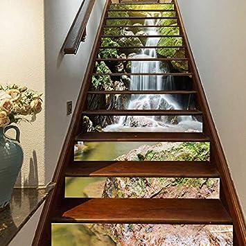 FLFK 3D Cascadas de paisaje natural auto-adhesivos Pegatinas de Escalera pared pintura vinilo Escalera calcomanía Decoración 39.3 pulgadas x7.08 pulgadas X 13Piezas: Amazon.es: Bricolaje y herramientas