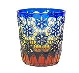 Ohba Glass Old-Fashoned Cut Glass Edo Kiriko, Japanese Traditional Craft in Gift Box Kaleidoscope (Ultramarine/Amber)