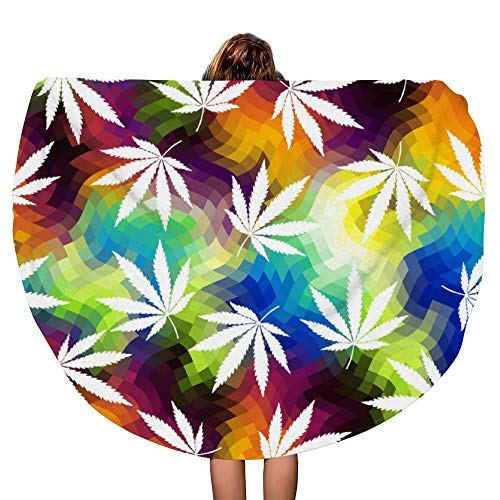 SARA NELL Thick Round Beach Towel Blanket - Round Beach Towel Reggae Rasta Rastafarian tie dye Hemp Leave Large Circle 60 Inch Circular Mat - Ultra Soft Super Water Absorbent Multi-Purpose Towel