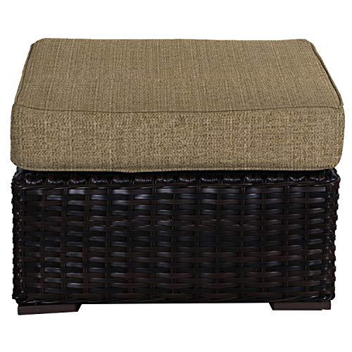 (Envelor Santa Monica Outdoor Patio Furniture Durable Wicker Rattan Ottoman Stool Foot Rest Includes Sesame Linen Sunbrella Cushions)
